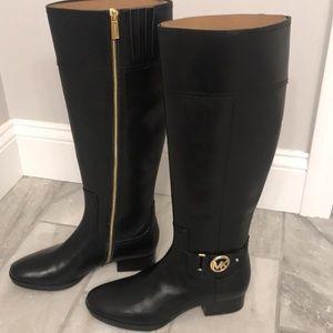 Michael Kors Knee boots black and gold zipper 6.5